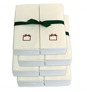 Disposable Guest Hand Towels with Ribbon - Embossed with a Red Gift - 1000ct
