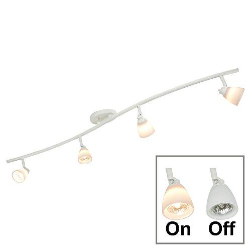 Direct-Lighting 4 Light Adjustable Track Light, White Finish, White Glass Shade, Ready to Install, Bulb Included, D268-44C-WH-WH - White Track Lighting