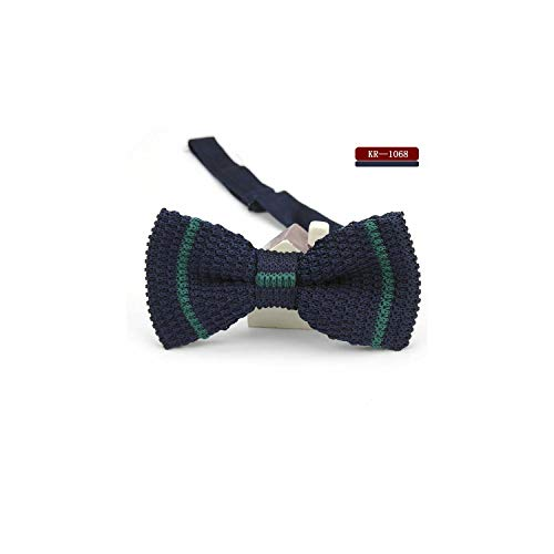 Men's Knit Bowtie Striped Solid Adjustable Butterfly Double Deck Neckwear Bowtie Knitted Bow Tie,ZBKR 1068 ()