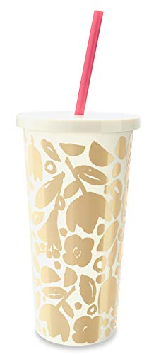 Kate Spade New York Insulated Plastic Tumbler With Reusable Silicone Straw, 20oz (Golden Floral)