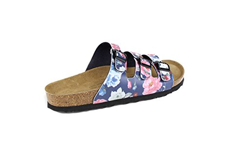 JOE N JOYCE Damen Paris Soft-Fußbett Rose Syn Soft Sandalen Pantoletten Blue Größe 37 Normal
