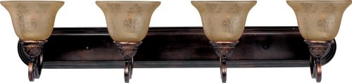 Mediterranean Four Light Vanity (Four Light Oil Rubbed Bronze Screen Amber Glass Vanity 11233SAOI)