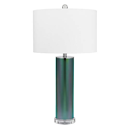 Catalina Lighting 20907-001 Contemporary Reactive Glass Table Lamp with Luster Iridescent Finish, Acrylic Base, Linen Shade and 3-Way Switch, Bulb Included 32.5
