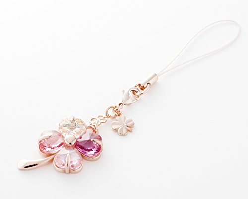 Cell phone Strap 036 four-leaf clover - Gradation(Pink3+Crystal Aurora)Pink Gold - Crystal Charm Swarovski Cell Phone