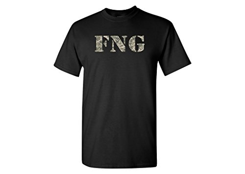 Funny fng Military Acronym Veterans Patriotic Men's T-Shirt Fucking New Guy Camouflage (X-Large, Black)