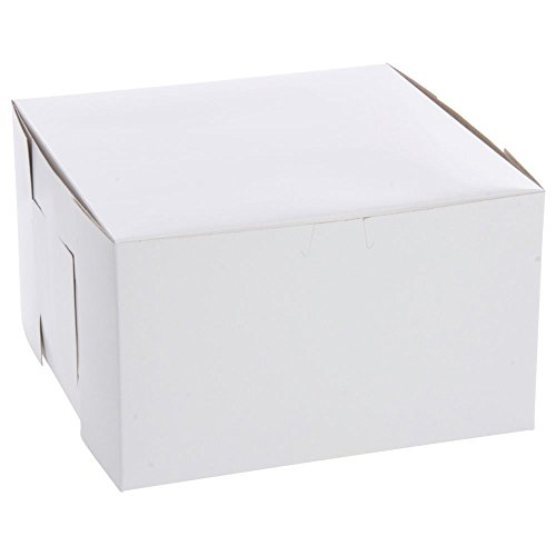 """Southern Champion Tray 0979 Premium Clay Coated Kraft Paperboard White Non-Window Lock Corner Bakery Box, 10"""" Length x 10"""" Width x 6"""" Height (Case of 100)"""