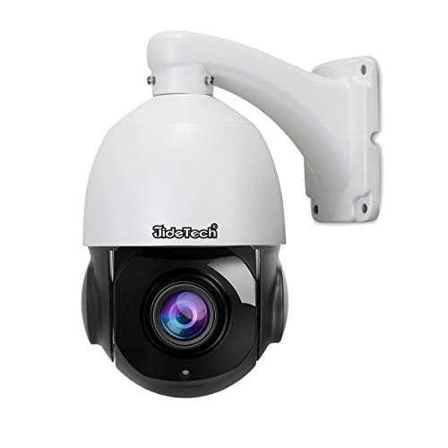 Optical 2 Way Audio - High Speed 5MP H.265 PTZ POE IP Security Dome Camera with 20X Optical Zoom Pan/Tilt and Two Way Audio Waterproof IR-Cut Night Vision Support SD Card Slot for Indoor and Outdoor Security Surveillance