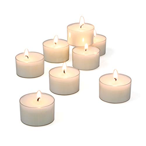 (Stonebriar Unscented Long Clear Cup Tealight Candles, 6 to 7 Hour Extended Burn Time, White, Bulk 48 Pack)