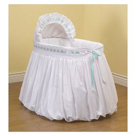 BabyDoll Pretty Ribbon Bassinet Liner/Skirt and Hood, Blue, 13''x29''