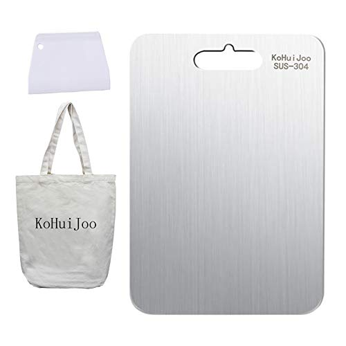 KoHuiJoo Stainless Steel Cutting Board for Kitchen, SUS-304 Strong Durable Easy Clean Large Chopping Boards, Unique Safe Multipurpose Butcher Block for Food Preparation + Scraper (18.11
