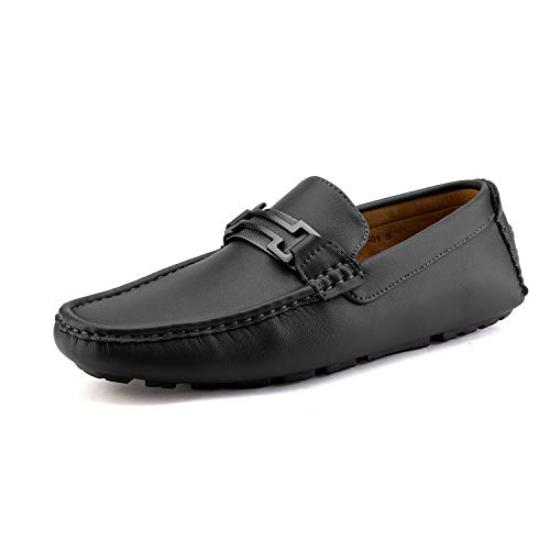 Bruno Marc New York Men's Hugh-01 Black Faux Leather Driving Penny Loafers Boat Shoes - 14 M US
