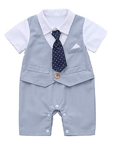 HMD Baby Boy Gentleman White Shirt Waistcoat Bowtie Tuxedo Onesie Jumpsuit Overall Romper (Light Blue, 6-9 M) -
