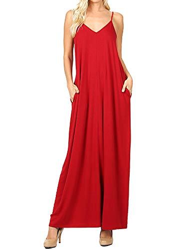 MixMatchy Women's Summer Casual Plain Flowy Pockets Loose Beach Cami Maxi Dress Dark Red ()