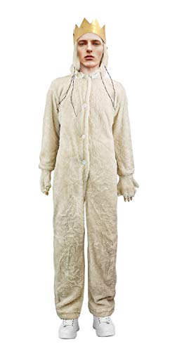 Where The Wild Things are Wolf King MAX Costume Hoodie Adult with Crown (XL) Beige]()