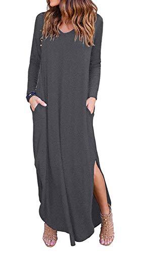 Kyerivs Women's Casual Long Sleeve Maxi Dress Petite Split Dresses with Pocket L-Gray S (US 6)