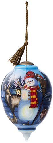 - Ne'Qwa Art Hand Painted Blown Glass Woodland Winter Friends Ornament, Snowman