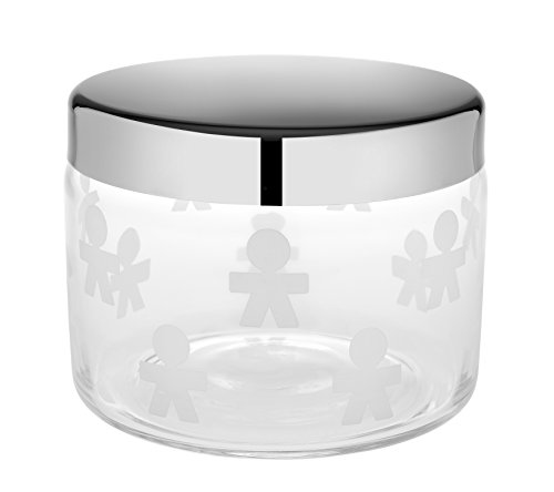 Alessi ''Girotondo'' Cookie Jar in Silk-Screen Glass With Lid in 18/10 Stainless Steel Mirror Polished, Silver by Alessi