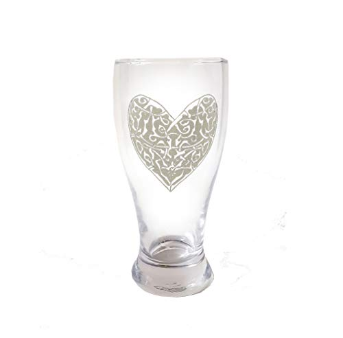 Celtic Knot Heart Pint Glass - Free Personalized Engraving, Heart beer glass