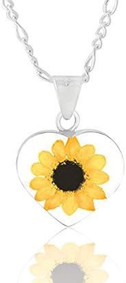 Dije/Collar Corazón con Girasol Natural, Cadena Plata 45 cm, TAMI, Joyería Floral