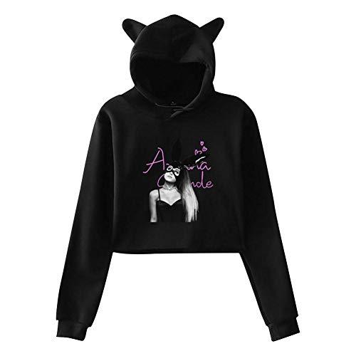 Women Thank U_Next_Ar1ana Leak Navel Hoodie Pop Hoody Crop Top Cat Hooded Sweatshirt Blouse Black