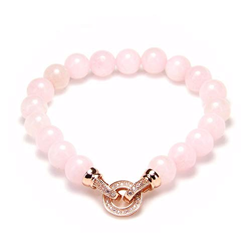 QIUHUAXIANG 8mm Quartz Bead Bracelets with Rose Gold Color Macro Paved CZ Circle Clasp Jewelry Women,Rose Gold -