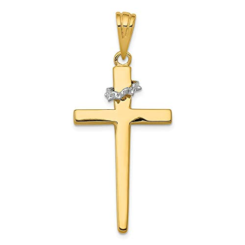 (Jewelry Stores Network 14k Two-Tone Yellow Gold Latin Cross with Crown of Thorns Pendant 44x19mm)