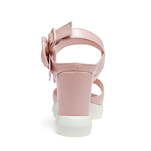 AgooLar Women's Buckle High Heels Pu Solid Open Toe Sandals Pink rqZDBwYn