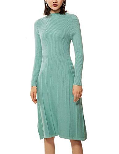 Womens Dress Cashmere (FINCATI Winter Fall Green Dress Women Cashmere Bodycon Soft Elegant Runway Knee-Length Unif Sweaters (M, C-Mint Green))