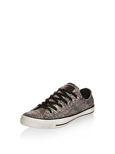 Converse Chuck Taylor Core Lea Ox, Sneaker Unisex adulto Grigio / Rosa / Nero
