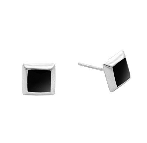 Silverly Women's .925 Sterling Silver Simulated Onyx Square Black 7 mm Studs Earrings
