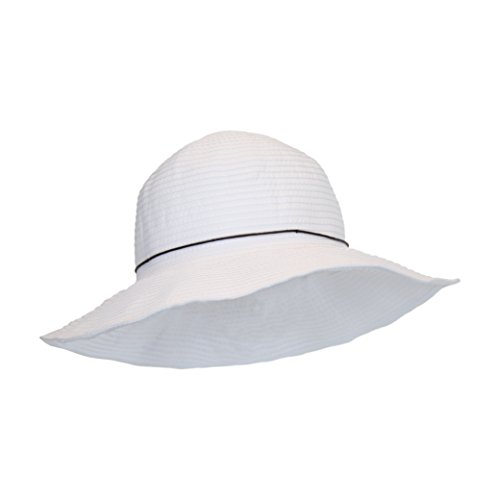 Packable White Ribbon Crusher Sun Hat, 4 in. Shapeable Brim, SPF UPF 50+ Protection (Ribbon Sun Hat)