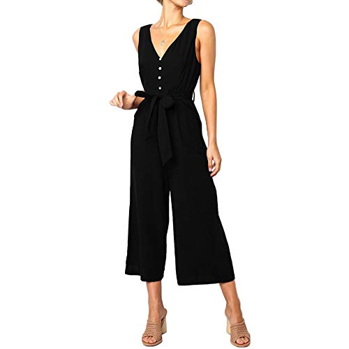 QUNNDY Women's Jumpsuits Casual Button Deep V Neck Sleeveless Belted Wide Leg Loose Jumpsuit Rompers with Pockets (M, - Button Deep