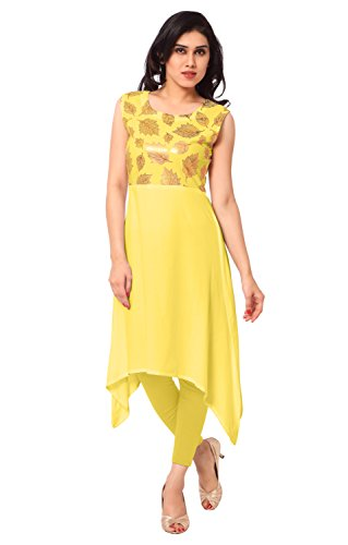 Ahalyaa Yellow Sleeveless And Round Neck Faux Crepe,Foil Fancy Festive Party Kurti