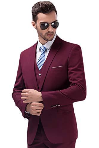 MAGE MALE Mens Solid 3-Piece Suit Slim Fit Notch Lapel One Button Tuxedo Blazer Jacket Pants Vest -