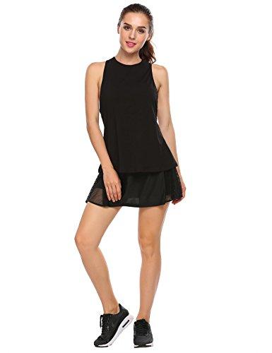 granate Women's Casual Skirts Running Skorts Gym Tennis Skirt With Mesh Black, L ()