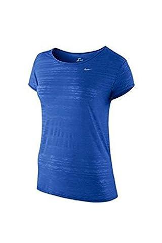 NIKE Women's Dri-FIT Touch Run Breeze Short Sleeve Top, Blue, Small, 724150 439 - 439 Sheer