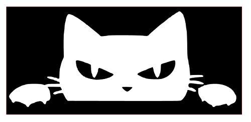[해외]Angry Cat Peeking Vinyl Sticker Decals for Car Window Laptop Phone (4 x 1.6 White) / Angry Cat Peeking Vinyl Sticker Decals for Car Window Laptop Phone (4 x 1.6, White)