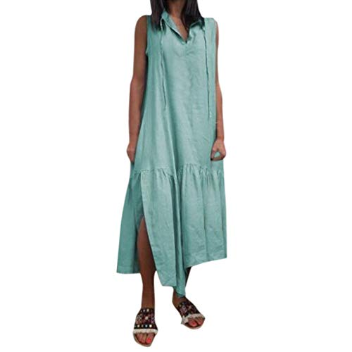 Sunhusing Women's Solid Color Sleeveless V-Neck Comfort Loose Cotton Linen Patchwork Frilled Split Hem Dress Green