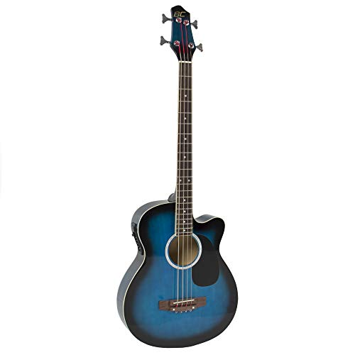 Best Choice Products Acoustic Electric Bass Guitar - Full Size, 4 String, Fretted Bass Guitar - Blue