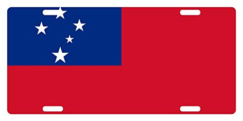 (License Plate Covers Samoa Flag National Emblem Novelty Custom Decorative Front Car Tag Plate Cover for US Vehicles)