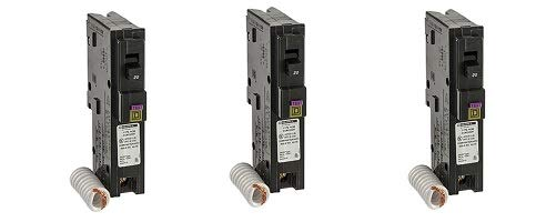 Square D by Schneider Electric HOM120DFC Homeline 20-Amp Single-Pole Dual Function Circuit Breaker, 1-Inch Format (3-(Pack))