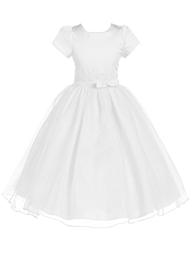 Bello Giovane Lace Decorated Satin Short Sleeve Flower Girl Dress (12, White)