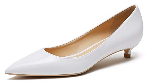 (Women's Comfor Classic Slip On Pointed Toe Dress Shoes Low Heel Pump Wedding Shoe White Patent PU Size US8.5 EU41)