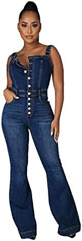Women's Flare Pants Denim Bib Overalls Slim Strecthy Button Jean Rompers Skinny Jeans Sleeveless Slim Fit