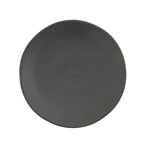 Fortessa Vitraluxe Dinnerware Heirloom Matte Finish Show Plate 12-Inch, Charcoal, Set of 4 by Fortessa