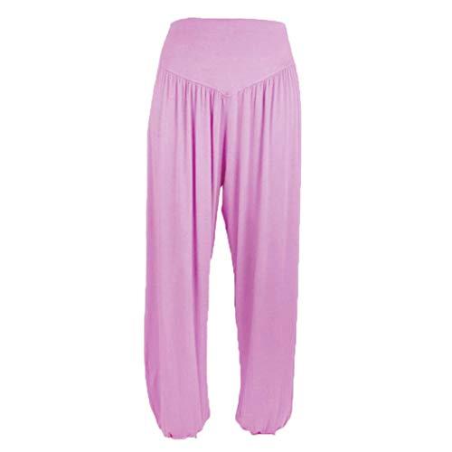 Elecenty Pantaloni casual Donna Pantaloni di Harem di ballo di sport di yoga di cotone modali casuali allentati elastici allentati delle donne Rosa