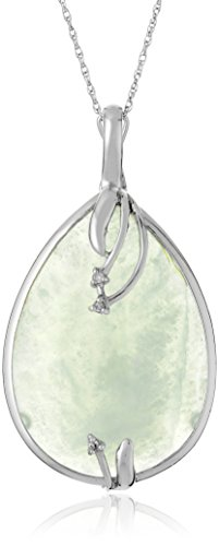 Jade Diamond Shape (Rhodium-Plated Sterling Silver Jade and Diamond Accent Oval Shaped Pendant Necklace, 18