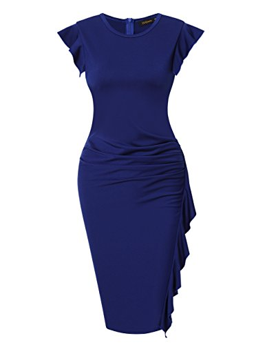 HiQueen Women's Official Vintage Cap Sleeve Bussiness Bodycon Pencil Dress (XL, Navy Blue)