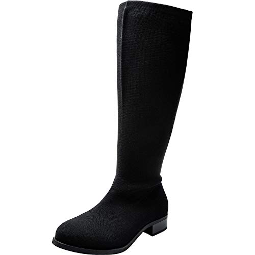 (Women's Wide Width Knee-High Riding Boot, Chunky Block Low Heel Boots Side Zipper Extra Wide Plus Size Boots.(180910,Black,9.5XW))