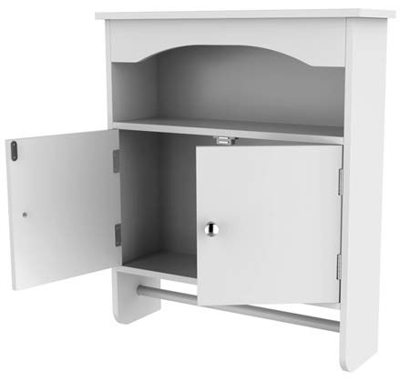 Bathroom Storage Wall Cabinet with Doors and Shelf White